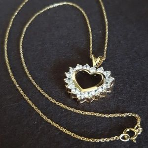 Heart Pendant Necklace Crystal Gold 925 Sterling
